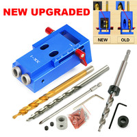 UPGRADED Mini Kreg Style Pocket Hole Jig Kit System for Wood Working & Joinery and Step Drill Bit & Accessories Wood Work Tool