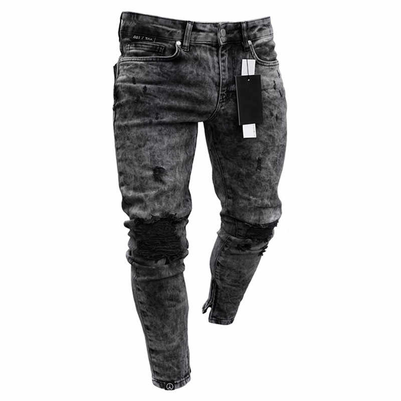 Feitong Katoen Jeans Mannen Lente 2019 Menclothes Denim Broek Verontruste Freyed Slim Fit Casual Broek Stretch Ripped Jeans