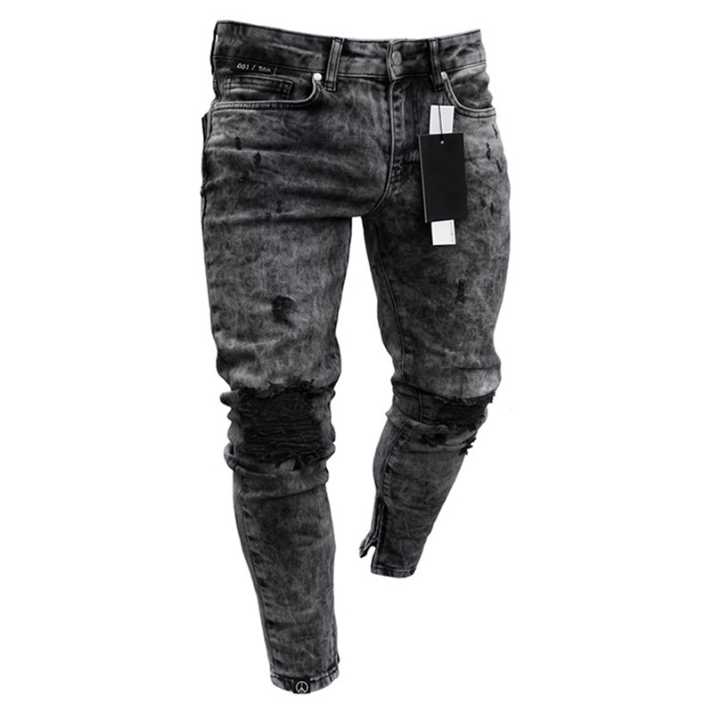 Ripped Jeans Trousers Denim-Pants Slim-Fit Stretch Distressed Freyed Casual Men Spring title=