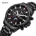 Часы WLISTH Мужские кварцевые, модные брендовые Роскошные водонепроницаемые спортивные с хронографом из нержавеющей стали