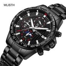 Wlisth nova moda masculina relógio de aço inoxidável marca superior luxo à prova dwaterproof água esportes cronógrafo quartzo masculino relogio masculino