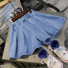 Pleated Denim Skirts for Kids Teenage Girls with Shorts Safe