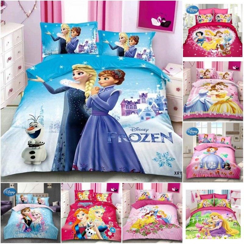 Disney Bedding Set Frozen Elsa Anna Cinderella Snow White Princess Bedclothes Sheet Pillowcase Cartoon Girl Twin Duvet Cover Set