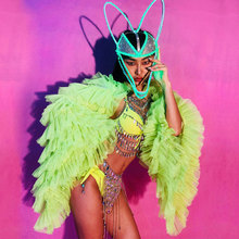 Fluorescent green Bikini Women Costume set Jacket body chain Nightclub Bar Stage