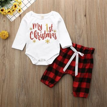 turkey print set newborn kids baby boy girl clothes my first thanksgiving letter long sleeve boysuit pants outfits set 0 2t CANIS Autumn My First Christmas Baby Boy Girl Newborn Xmas Clothes Set Long Sleeve Romper Pants Outfit