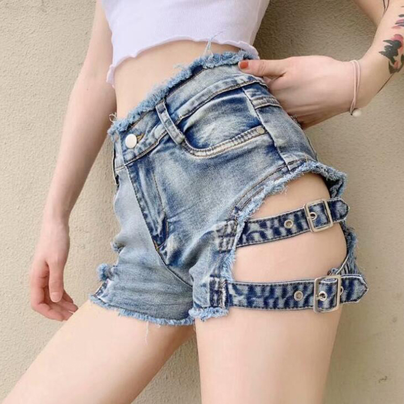 New 2020 Summer Punk Sexy Women Denim Shorts Female Hollow Out Spring Skinny Rock Gothic Mid Waist Jeans Shorts