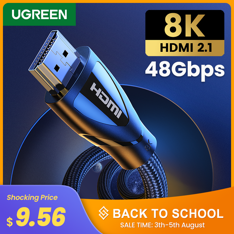 Ugreen Cabo HDMI Cabo HDMI 2.1 K @ 60 8Hz 4K @ 120Hz Ultra-Alta Velocidade 48 5gbps para Apple TV PS4 HDR10 8K Cabos de TV Digital + HDMI 2.1