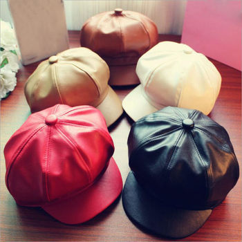 Women Leather Beret with Brim Octagonal Beret Cap Hat Gatsby Newsboy Peaked Hats Autumn and Winter Street Style fs black beret hat wool women octagonal cap winter autumn fashion artist painter newsboy hats red casual peaked caps