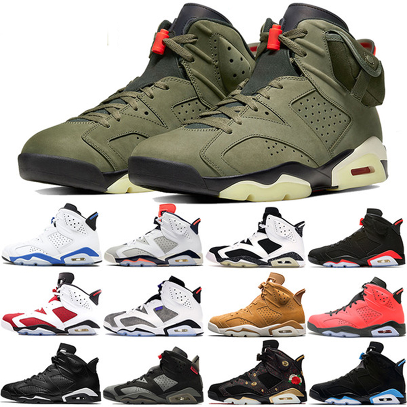 High Quality Travis Scotts X 6 Retro Medium Olive Men Basketball Shoes Denim Tinker  Cactus Oregon Mens Sports Sneaker 7-13