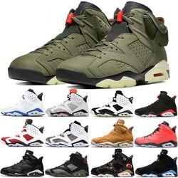 Hohe Qualität Travis Scotts X 6 Retro Medium Olive Männer Basketball Schuhe Denim Fee Tinker Kaktus Oregon Herren Sport Sneaker 7 -13