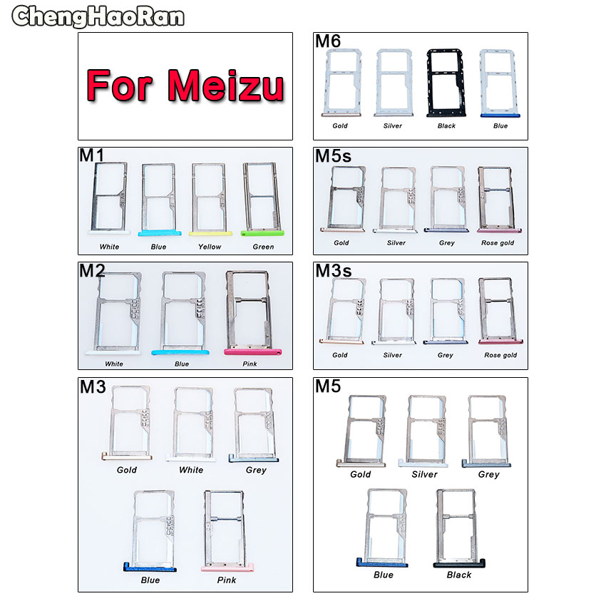 ChengHaoRan For Meizu M1 M2 M3 M3S M5 M5S M6 SIM Card Tray Holder Slot Adapter Socket Dual SIM Replacement For Meilan 1 2 3 3s 5