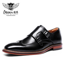 Dress Brogue-Shoes Monk-Strap Genuine-Leather Buckle Slip-On Business DESAI for Men