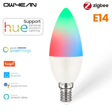 Owyean Zigbee 3.0 Smart E14 ampoules LED en forme de bougie RGB + W + C travail à intensité variable avec Hue Tuya vie intelligente Alexa domotique