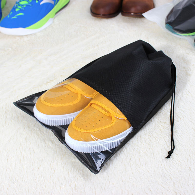 Junejour Waterproof Shoes Bag Travel Portable Shoe Storage Bag Organize Tote Drawstring Bag Non-Woven Laundry Organizer Fabric