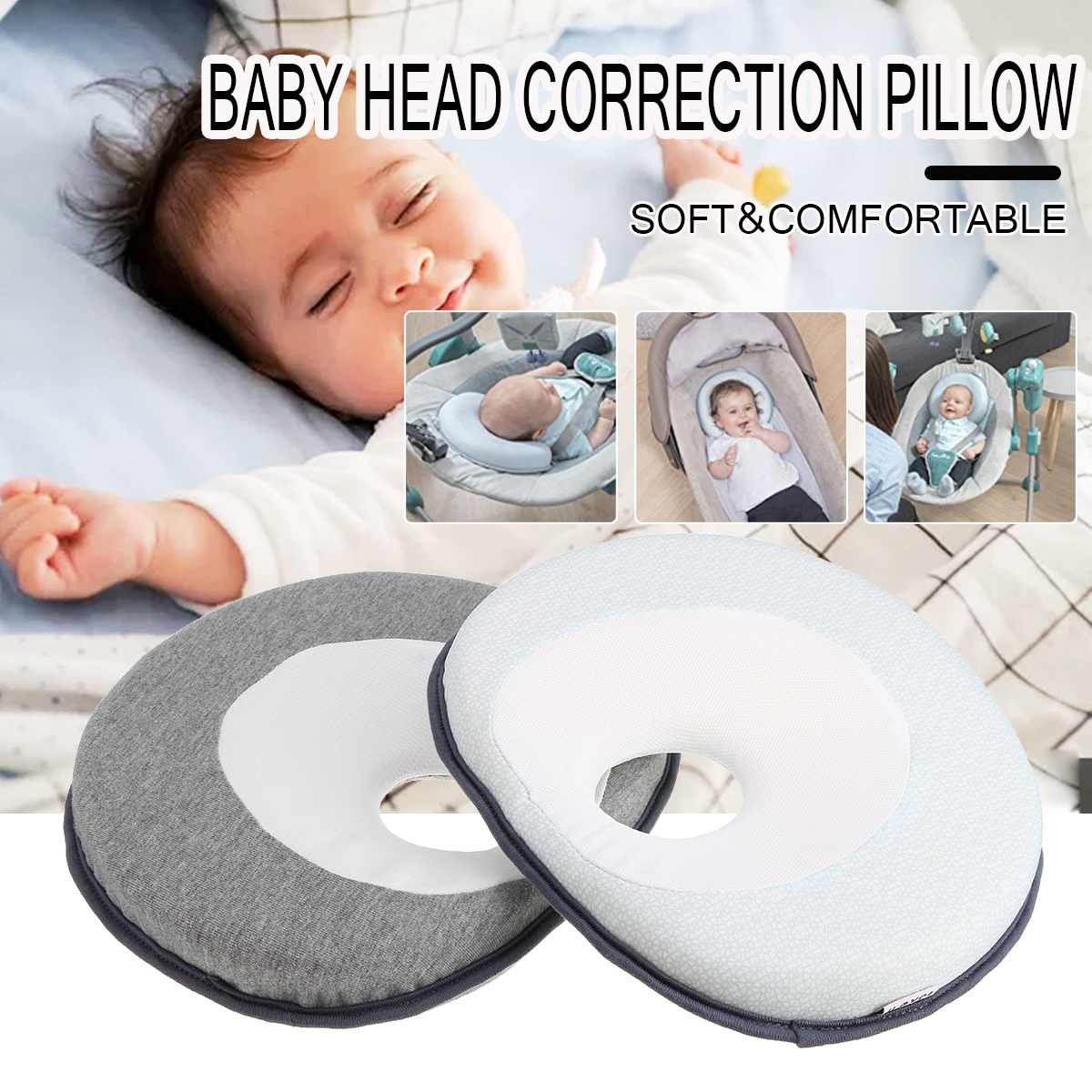 Baby Pillow Anti Flat Head Baby Pillow 0-1 Year Old Newborn Toddler Sleep Positioner Cushion Head Correction Corrective Head