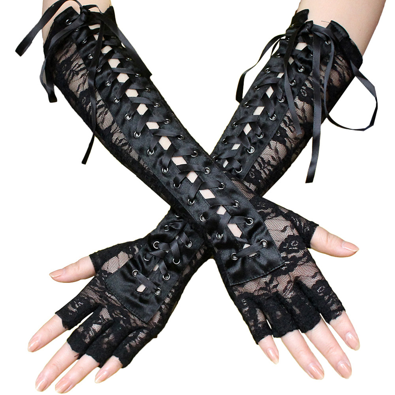 Black Gothic Sexy Lace Long Gloves Ribbon Fingerless Fishnet Mesh Etiquette Party Gloves Cool Punk Woman Lace Eyelet Gloves