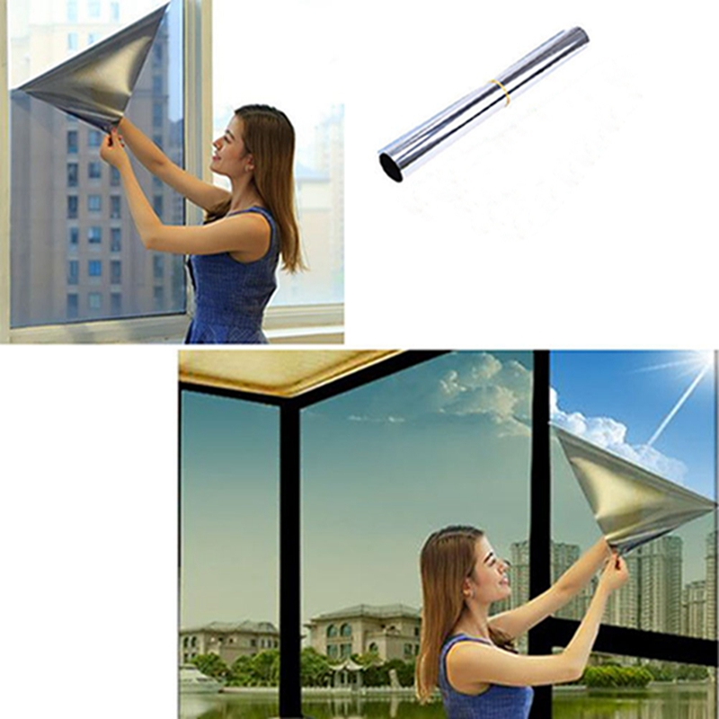 Silver Home Kitchen Balcony Sun Shade Film Sun Protection Film One-way See-through Glass Film Bedroom Blackout Window Stickers