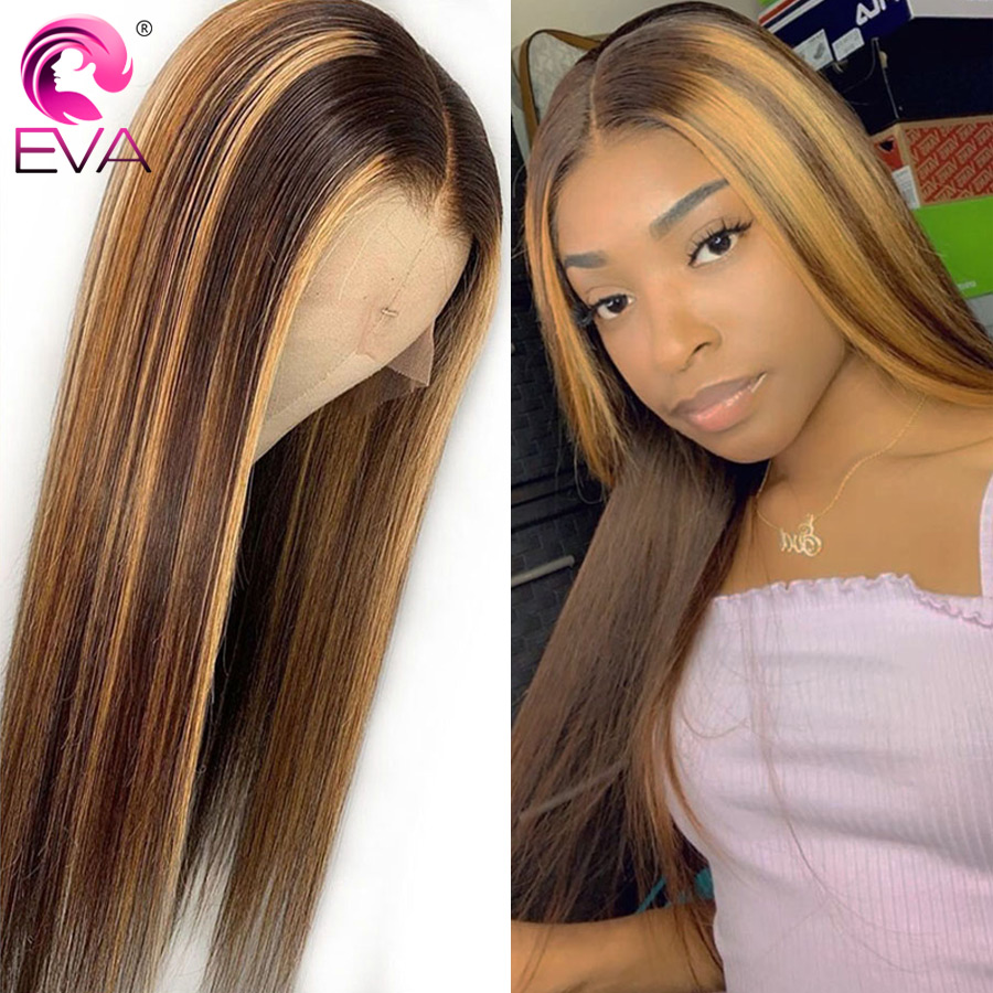 Eva Ombre 13x6 Lace Front Human Hair Wigs Highlight Colored Straight Lace Front Wigs Pre Plucked With Baby Hair Brazilian Remy