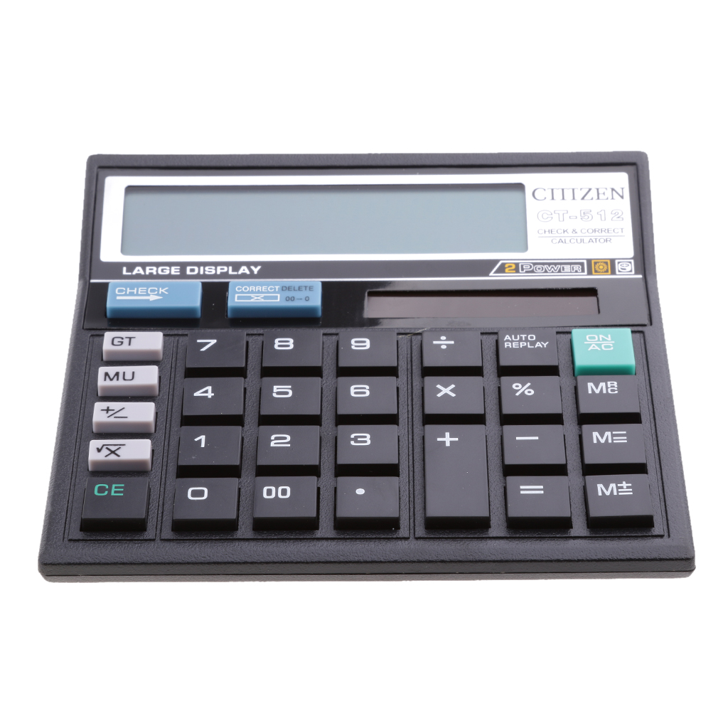 Electronic Calculator Office Check Correct Liquid Crystal Display