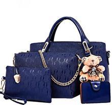 Conjunto de bolsas femininas em couro sintético, conjunto feminino com 4 bolsas feitas em couro sintético de poliuretano, estilo carteiro e bolsa de mão e de ombro, vintagecomposite bagbrand women bagwomen bag