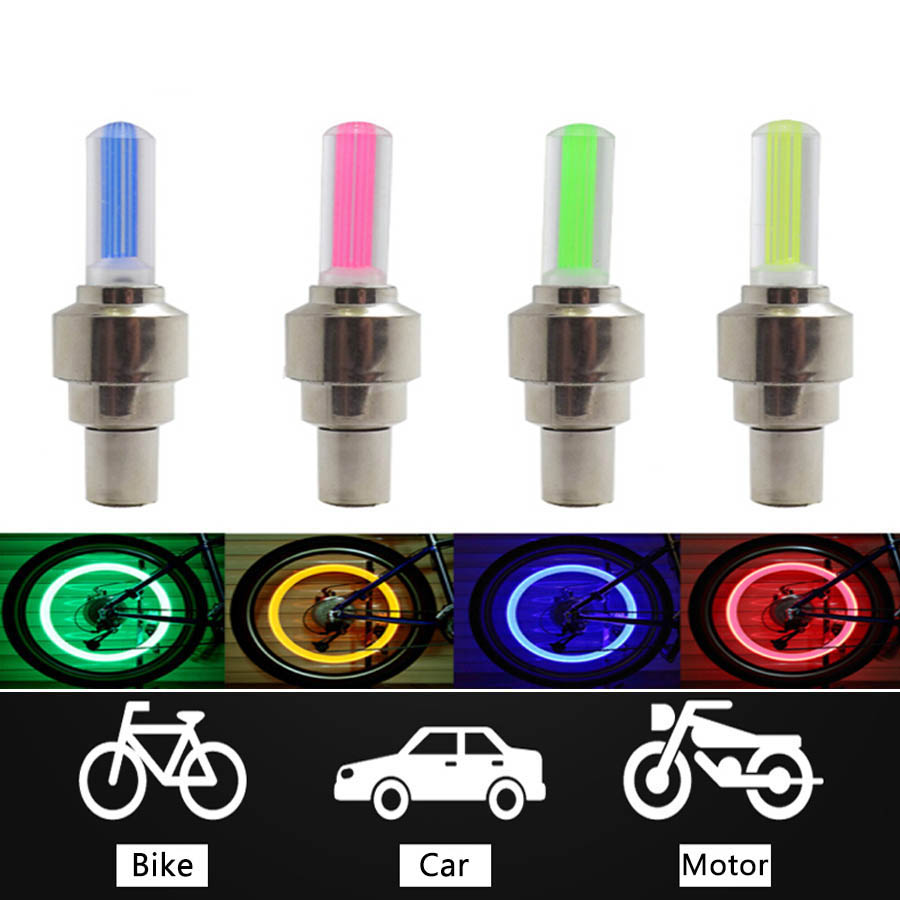2PCS Bike Car Motorcycle Wheel Tyre Valve Cap Flash LED Light Lamp Caps On Car Wheels Tires Accessories Auto Car-styling