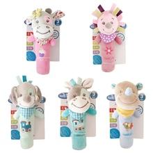 купить Cute Animal Doll With Sound Baby Comfort Toy Newborn 0-1 year old Animal Grasp BB Stick Soft Plush Toy по цене 243.59 рублей