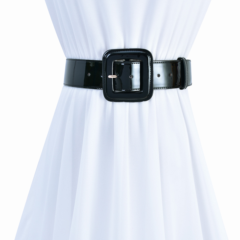 New Simple Black Leather Belt Fashion Wild Ms. Girdle Wide Waist Of The Dress Coat Child