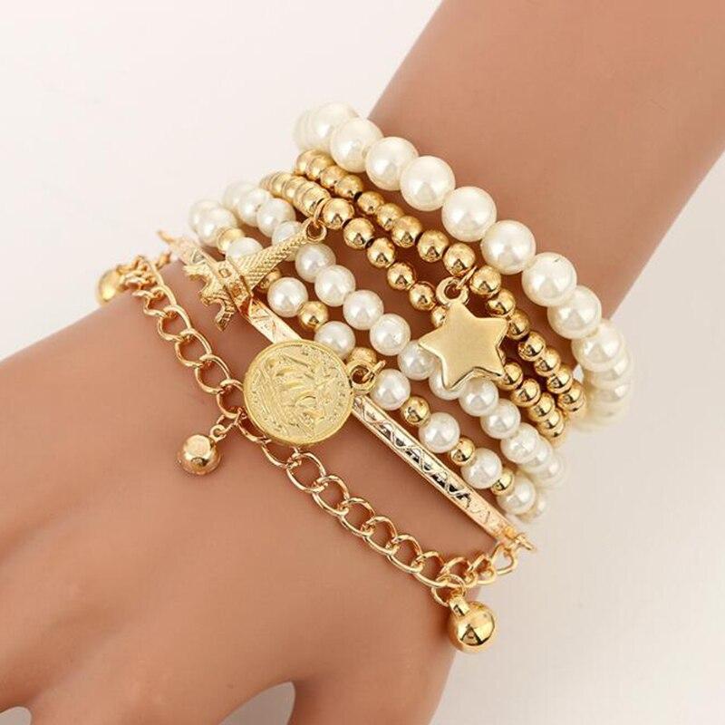 6 шт./компл. Эйфелева башня звезда браслет многослойный жемчужный браслет из бисера браслеты для женщин и девушек очаровательные вечерние, ю...