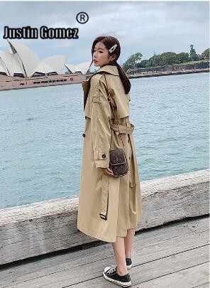 Top sales High quality 2019 Fall /Autumn Casual Double breasted Classic Long   Trench   coat windbreaker