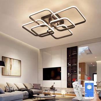 Square Circel Rings Chandelier For Living Room Bedroom Home AC85-265V Modern Led Ceiling Chandelier Lamp Fixtures Free Shipping 1