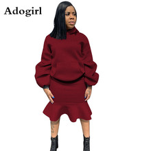 2019 Autumn Winter Women Hooded Long Lantern Sleeve Top +Knee Length Ruffle Hem Skirt Two Piece Set Office Daily Plus Size XXL