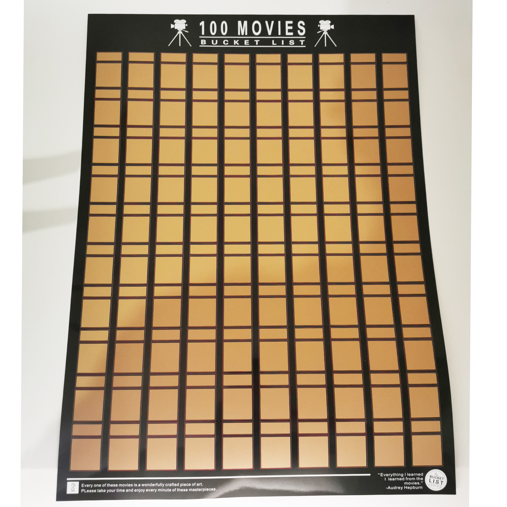 Quality Easy Off Gold-100 Movies Scratch Off Poster- Bucket List Poster- BUCKET LIST poster Scratch