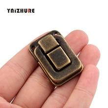 4 piezas 27*40MM maleta cerraduras de madera antiguo caja hebilla de Metal trompeta de bronce Taiping cierre de caja hebilla