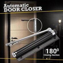 Черный Регулируемый поверхностный доводчик двери с одной пружиной из нержавеющей стали, автоматический пружинный Дверной доводчик