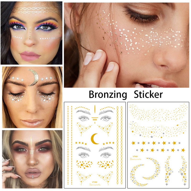 2019 New Gold Face Sticker Temporary Tattoo Waterproof Blocked Freckles Makeup Stickers Eye Decal Wholesale
