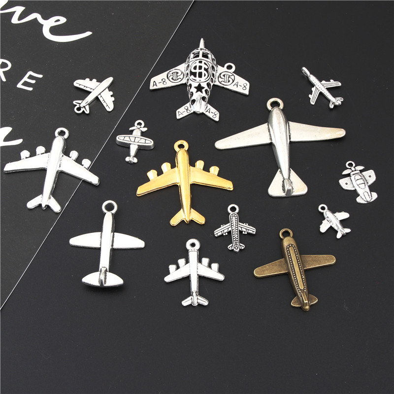 13Pcs Mix Antique Sliver Airplane Charms Finding Helicopter Pendant For Travel Theme Gift Jewelry Making Accessories M47 image