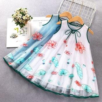 Vestidos bonitos para niñas pequeñas, traje de verano para niños pequeños, sin mangas, bordado de princesa, vestido para niñas pequeñas