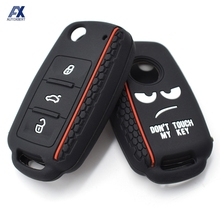 Silicone Car Key Case Remote Fob Cover For VW Polo Bora Beetle Tiguan Passat Golf For Skoda Fabia Octavia For Seat Leon Toledo