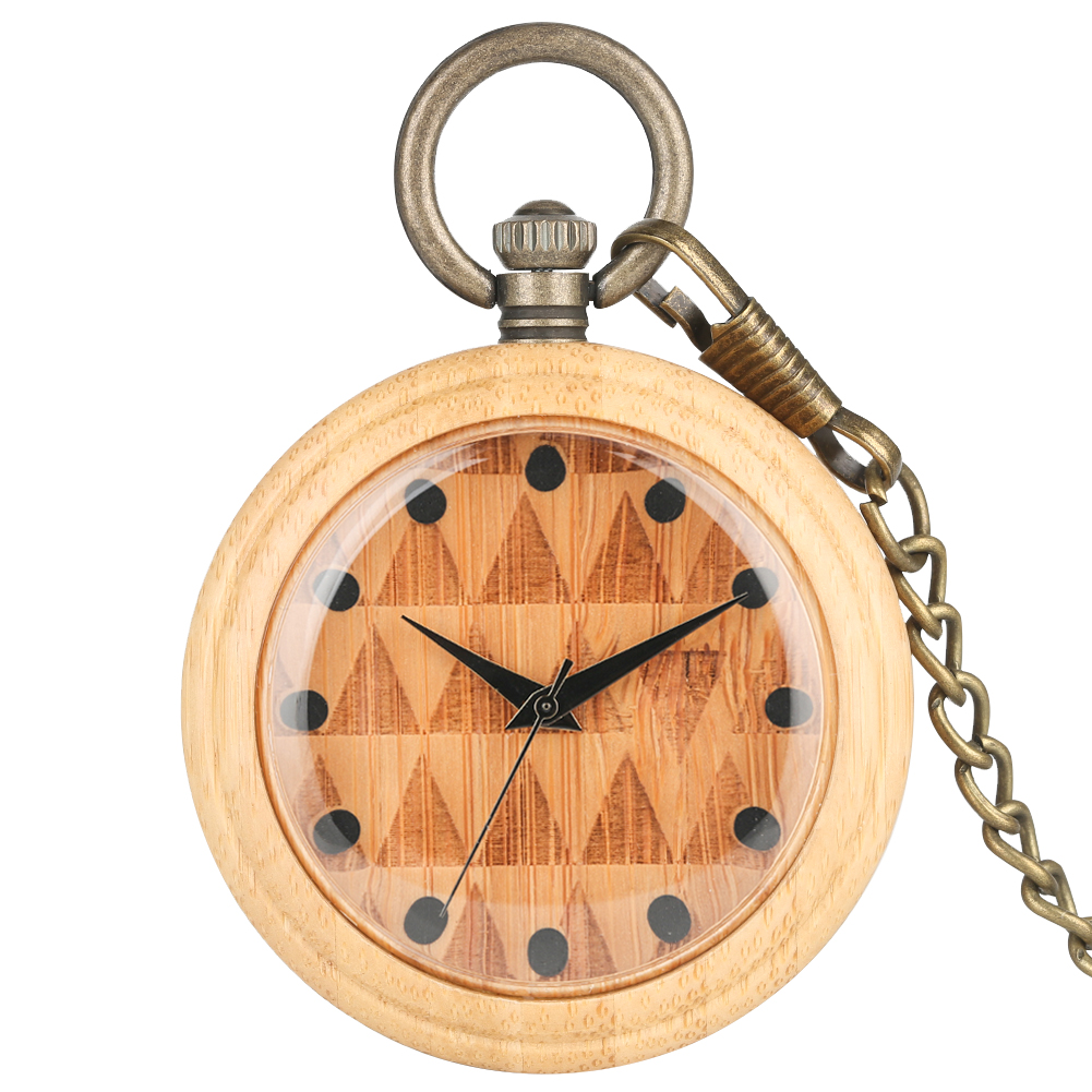 Consice Bamboo Large Pocket Watch Necklace Men Creative Design Dial Bronze Rough Chain Pendant Watch Gift 2019 Taschenuhr