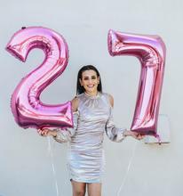 Número 27 28 2 pçs/lote 32/40 polegadas de Alumínio Balões Folha de Ouro Rosa de Prata Dígitos para Adulto 22th Aniversário festa de Casamento decoração
