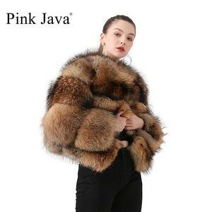 Image 1 - Розовый JAVA QC1884 Новое поступление пальто из натурального меха енота, женская меховая куртка зима роскошные пушистые енота пальто Лидер продаж
