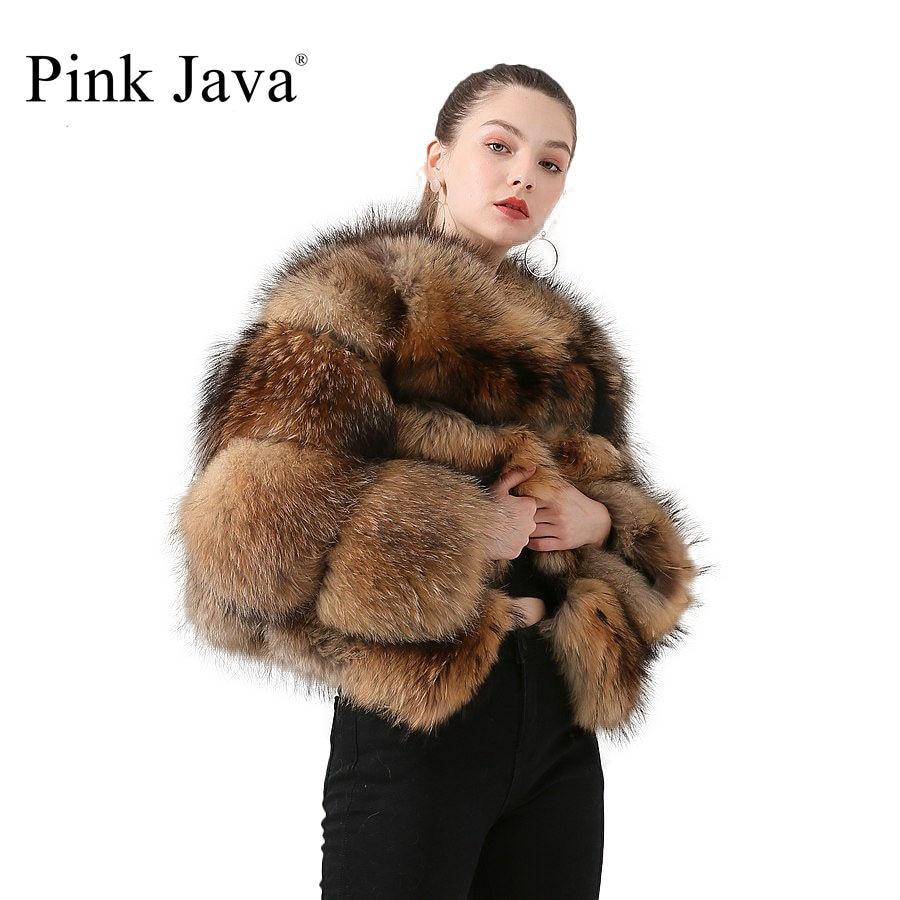 Розовый JAVA QC1884 Новое поступление пальто из натурального меха енота, женская меховая куртка зима роскошные пушистые енота пальто Лидер прод...