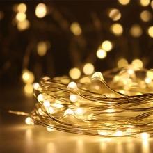 Светодиодный гирлянда 10 м, 5 м, 3 м, 2 м, 1 м, Волшебная гирлянда, украшение для дома, Рождества, свадьбы, вечеринки, питание от батареи USB LR44 CR2032
