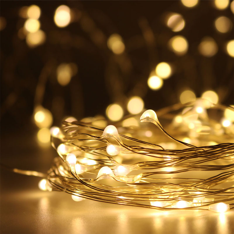 LED String Lights 10M 5M 3M 2M 1M Wire Fairy Garland Home Christmas Wedding Party Decoration Powered By Battery USB LR44 CR2032