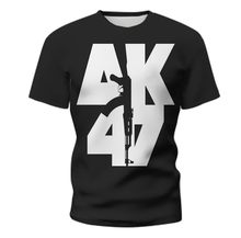 2021 Russia Men's Military AK47 Top T-shirt Summer Fashion r3D Printed Short Sleeve T-shirt Men's AK 47 Rifle Customized T-shirt