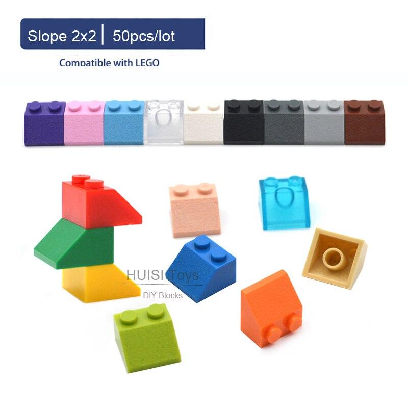 MOC Kids Educational Learning Toys 5 6 7 8 9 10 Years Classic Building Blocks Parts 2*2 Slope 2x2 For LEGOO DIY Toys 50pcs/lot