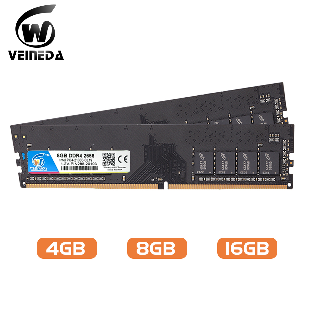 VEINEDA DIMM ram DDR4 8 GB 16gb PC4-19200 Память Ram ddr 4 2400 для Intel AMD DeskPC Mobo ddr4 8 gb 1,2 V 288pin