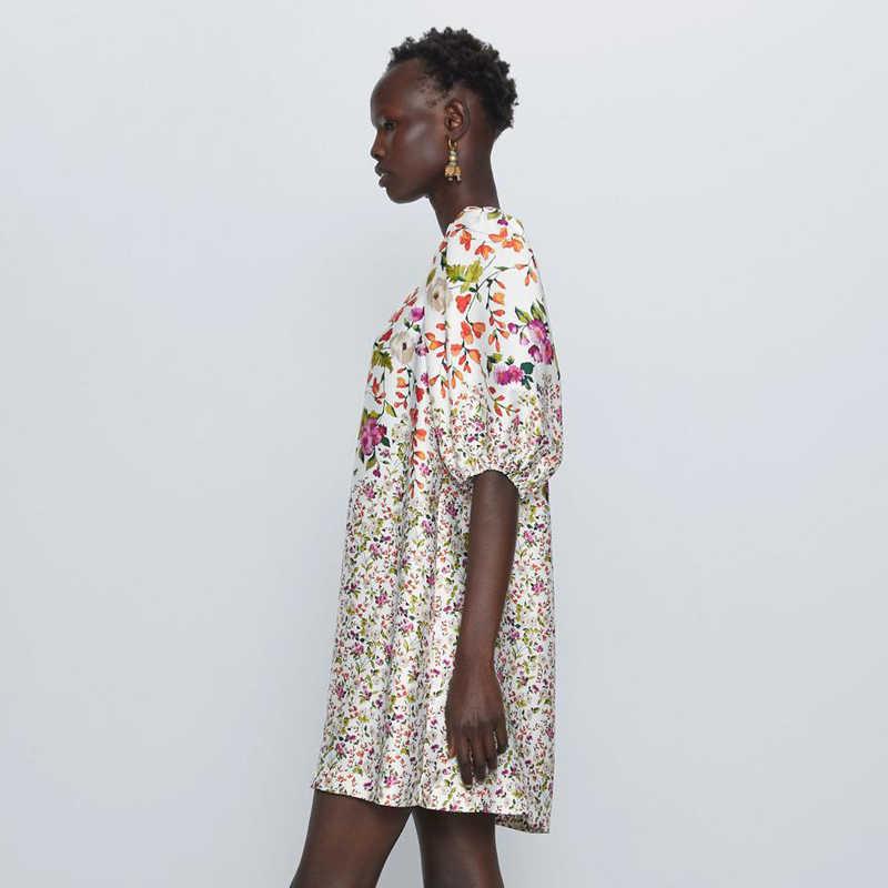 Zoepo Prairie Chic O Hals Rechte Jurken Vrouwen Mode Gedrukt Jurk Vrouwen Elegante Half Sleeve Mini Jurken Vrouwelijke Dames Cr