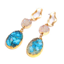 Korean Druzy Earrings natural Quartzs Crystal Long Drop For Women Jewelry Statement Gifts Accessories Brinco