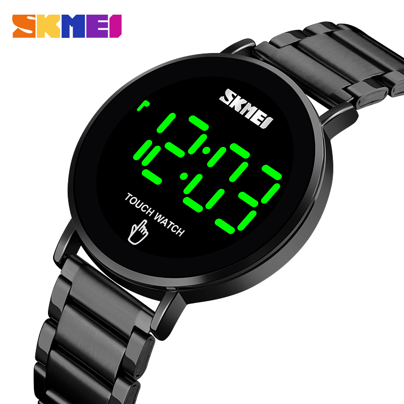 SKMEI Fashion Men Digital Watch Male Touch Screen LED Light Display 3bar Waterproof Stainless Steel Strap Montre Homme 1550